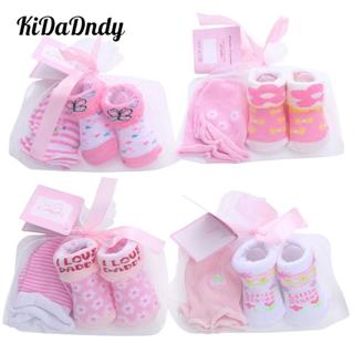 baby socks + Anti-grab gloves set Cute cartoon baby socks set Striped dot spring and autumn cotton
