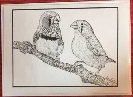 """ZEBRA FINCHES  - 5 x 7"""" art card by artist Nina Struthers - GIN ONLY"""