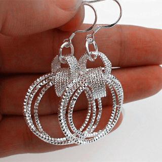 925 Sterling Silver Wholesale Women Jewelry Three Loop Hoop Dangle Earring