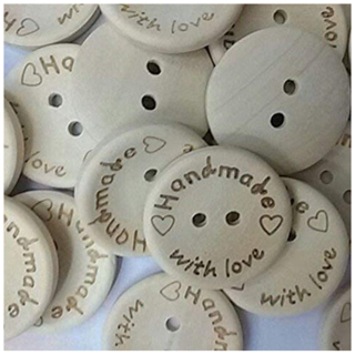 Fangfang 100pcs Handmade 2 Holes Wooden Sewing Buttons With Love Scrapbook DIY Button Craft (25mm)