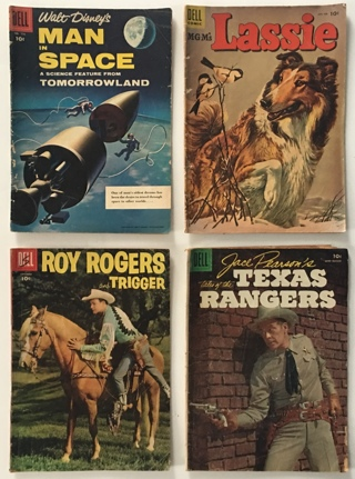 Roy Rogers, Lassie, Texas Rangers, Man in Space 1955-1956 Silver Age Lot of 4 DELL Comic Books