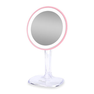 New!! Ovonni White & Pink 5x Magnification Lighted LED Makeup Mirror Stand