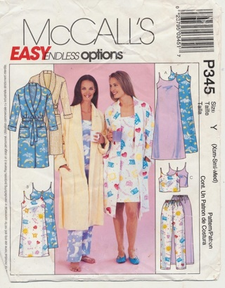 Pattern:  McCall's 343, Pajamas, Robe, Nightgown, Pants, Tops, Easy - PAT-1000
