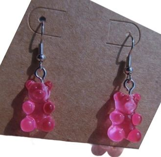 """ gummy bears "" pink drop earrings New free sheep"