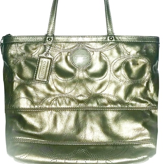 "COACH #15142 - Gunmetal Stitched Signature ""C"" Perforated Patent Leather Tote!"