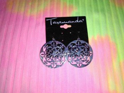 Silvertone Disc Shaped Earrings