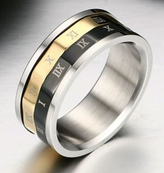 JUST IN TIME FOR CHRISTMAS!!!Titanium Steel Men's Ring Gold Black. Size 9