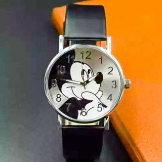 Mickey Mouse Water Resistant 30M Analog Quartz Wrist Watch with Adjustable Black PU Leather Band NEW