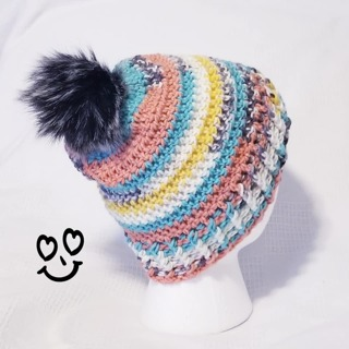 CROCHET SLOUCH HAT SIZE 3/4 YEAR OLD WITH REMOVABLE POMPOM