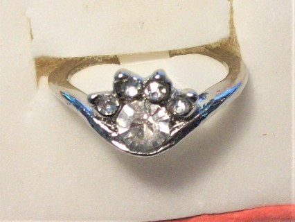 Delicate New Silver Plated Ring with Crystal Stones . Size 5 .