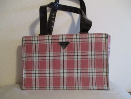 Free Modella Large Burgundy Pink Plaid Travel Bag Tote Per Make Up