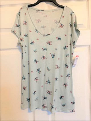 BNWT Women's Attention Floral Print Cap Sleeve Knit Top - Size L
