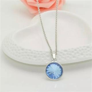 Blue Crystal Rhinestone Round Pendant Necklace