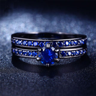Women Jewelry accessorie Blue Fresh CZ Black Gold Plated Ring Set Size 7 8
