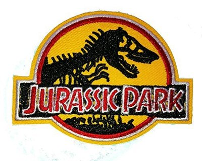 Jurassic Park Embroidered Cloth Iron On Patches (Yellow)