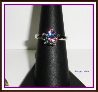 •❤️• 2ct Brilliant cut Rainbow Topaz ring in a 925 pltd setting ~ sz 6/7/8/9/10/11/12 ~ NEW!! •❤️•