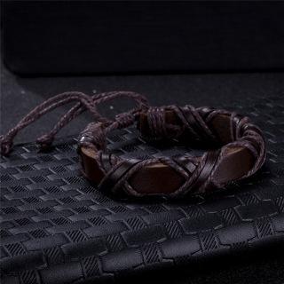 Black/Brown Viking Bracelets for Women Men Adjustable