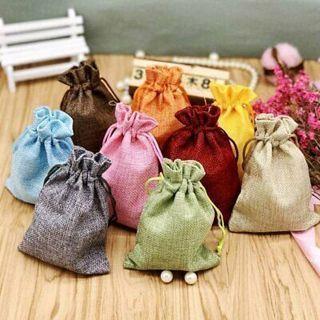 [GIN FOR FREE SHIPPING] 10Pcs Small Burlap Linen Jute Bag Gift Favor