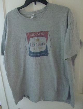 Men's (or Unisex) XL Light Grey Molson Canadian Lager Beer T shirt
