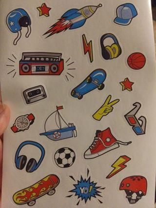 Boy themed stickers