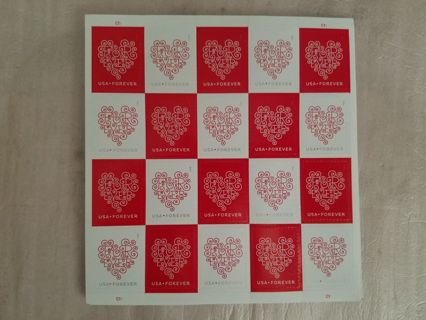 USPS Forever Hearts Stamps 20x25 sheets total 500