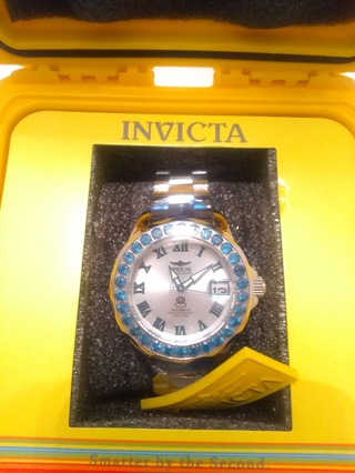 New,Invicta Women's Grand Driver Automatic 3.48ct Neon Apatite Bezel Stainless Steel  Bracelet Watch