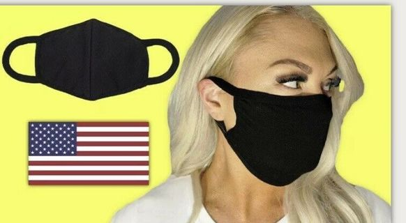 Face Mask Double Layer Reusable & Washable Unisex Soft Black Cotton - (USA) FREE SHIPPING!