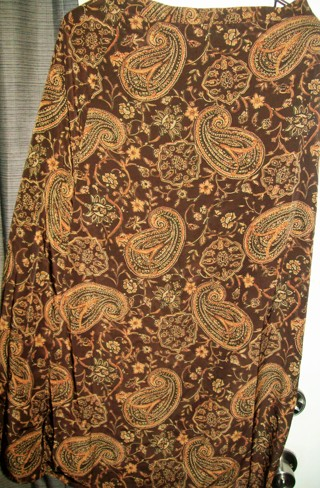 First Option Ladies Sz L (10) Brown Beige Floral Long Dressy Flare Skirt-Like New