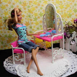 Dressing Table & Chair Accessories Set For Barbies Dolls Bedroom Furniture