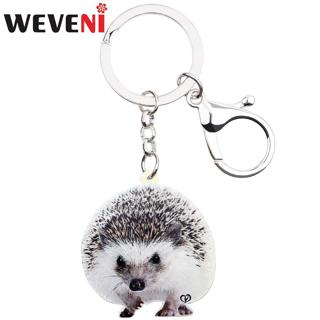 WEVENI Acrylic Cute Hedgehog Key Ring Keychain Wild Protected Animal Jewelry For Women Girls Bag Car