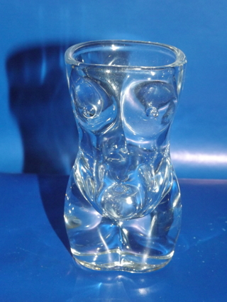 Vintage Shot Glass Of Shapely Figure Woman