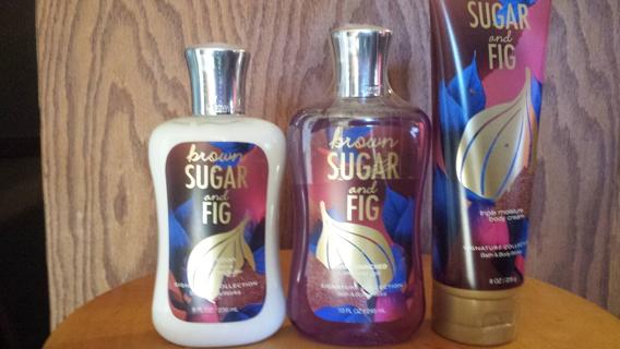 3 PC bath and body works set  brown sugar &fig