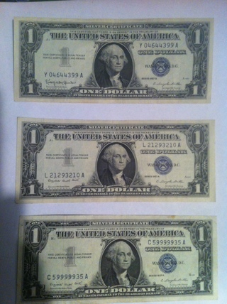 Free: Lot of 3 1957 1$ Silver Certificates One Dollar Bill 3$ Face ...