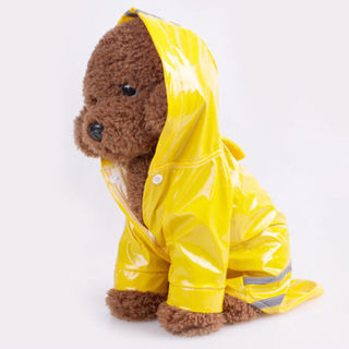 Dog Rain Coat Pet Cat Puppy Outdoor Clothes Waterproof Coat Hooded Raincoat