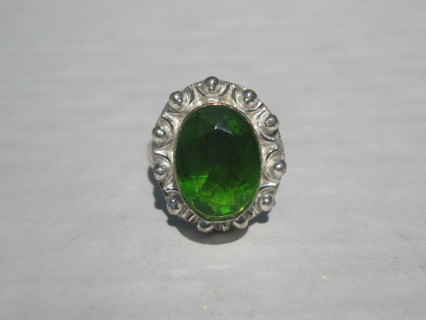 Emerald Coloured Silver Plated Ring Size 5-6 FREE Shipping to US with GIN