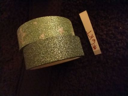 2 green rolls glitter metallic deco tapes!! #6KT