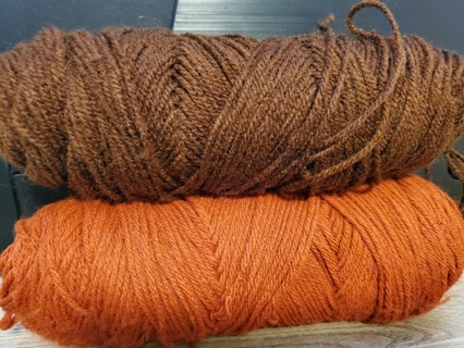 Brown & Copper Yarns - total weight is 6.1 ozs
