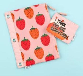NEW Binder Zip Pencil Case Strawberries ~ LOW GIN