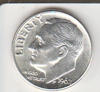 1962-D B U Silver Dime