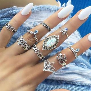 HOT Retro 10Pcs/ Set Silver Boho Fashion Gem Moon Midi Finger Knuckle Rings Gift