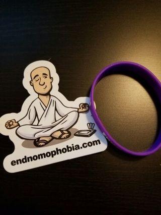 endnomophobia.com sticker & bracelet