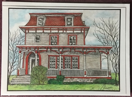"Red Roof - 5 x 7"" Art card by artist Nina Struthers - GIN ONLY"