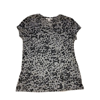 KENNETH COLE NEW YORK Leopard Print Burn Out Tee M