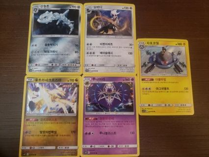 5 korean holo pokemon cards