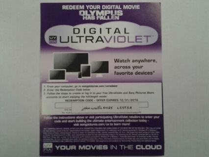 Olympus Has Fallen Ultraviolet Code ( Brand New ) Experation Date 12 / 31 / 2016