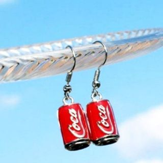 Coca cola red drop earrings funny gag gift New free ship