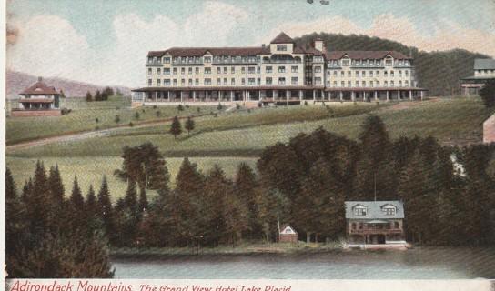 Vintage Used Postcard: 1909 Adirondack Mountains, The Grand View Hotel, Lake Placid, NY