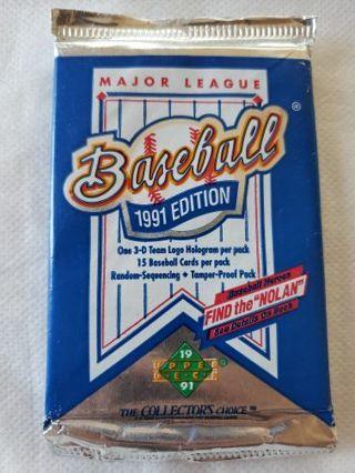 1991 Upper Deck Baseball Cards Unopened Foil pack.