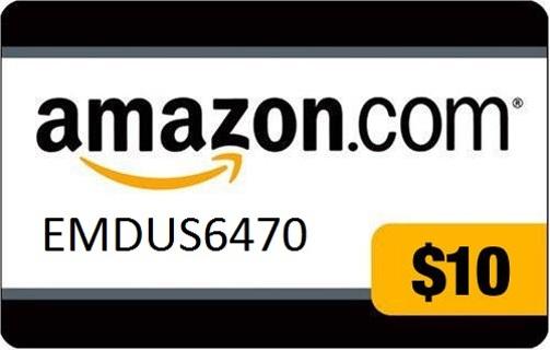 $10 Amazon Gift Card (E-gift or Actual card)