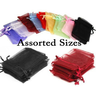 12 ASSORTED ORGANZA DRAWSTRING BAGS BEST BUY NEW POUCHES unlimited uses QUALITY!!!
